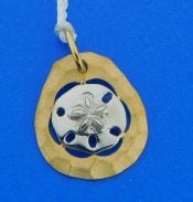 2-tone sand dollar pendant 14k denny wong