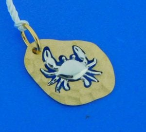 denny wong 2-tone crab pendant 14k