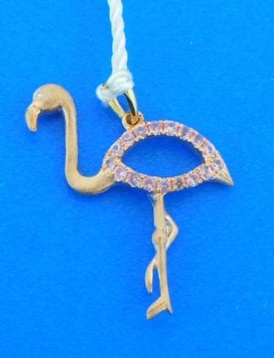 14k denny wong pink flamingo pendant