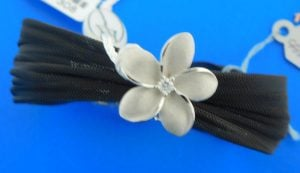 plumeria beach bracelet slide 14k white gold