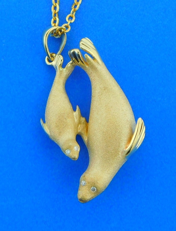 14K Yellow Gold 3D Mermaid Charm Ocean Polished Jewelry