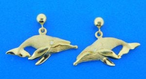 humpback whale earrings 14k denny wong