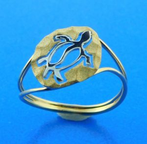 14k denny wong sea turtle ring 2-tone
