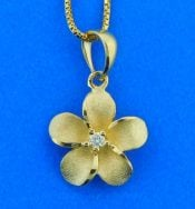 14k denny wong yellow gold plumeria pendant
