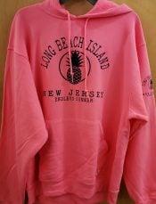 LBI Adult Pineapple Hoodie ,Neon Pink, Long Beach Island