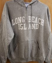 long beach island zipper hoodie grey