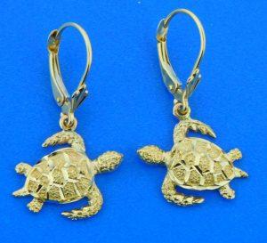 14k sea turtle dangle earrings