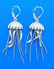 Jellyfish Earrings, Sterling Silver
