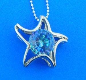 sterling silver blue quartz pendant