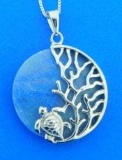 sterling silver sea turtle aventurine pendant
