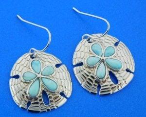 sterling silver sand dollar larimar earrings