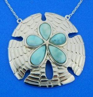 sterling silver sand dollar larimar pendant