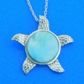 sterling silver starfish larimar pendant