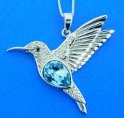 sterling silver hummingbird crystal pendant