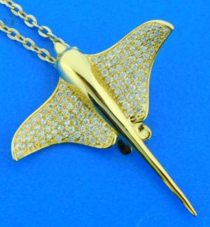sterling silver gold plated manta ray pendant
