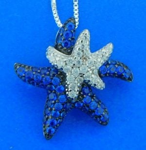 sterling silver starfish crystal pendant