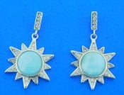 sterling silver sun larimar earrings