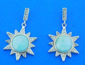 sterling silver sun larimar earrings