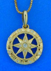 14k compass rose pendant with diamonds