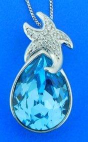 sterling silver swarovski crystal starfish pendant