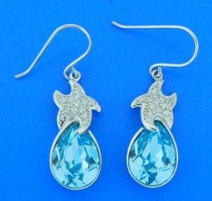 sterling silver starfish earrings blue swarovski crystal