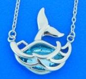 whale tail pendant sterling silver & Swarovski