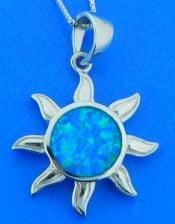 sterling silver & opal sun pendant