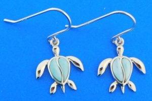 honu sea turtle earrings sterling silver & larimar