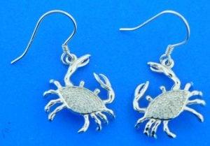 sterling silver cz crab earrings