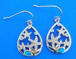 sterling silver starfish teardrop earrings