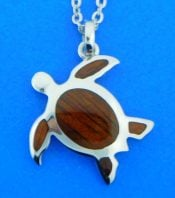 sterling silver and koa wood sea turtle pendant