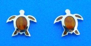 sterling silver and koa wood sea turtle earrings