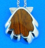 sterling silver and koa wood scallop shell pendant