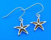 sterling silver and koa wood starfish earrings