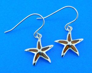 sterling silver and koa wood starfish earrings