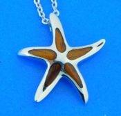 sterling silver and koa wood starfish pendant