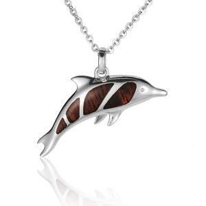 sterling silver spinner dolphin koa wood pendant