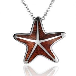 sterling silver starfish koa wood pendant