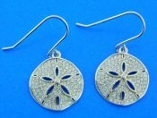 sterling silver sand dollar cz earrings