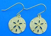 sterling silver gold plated sand dollar cz earrings