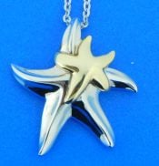 sterling silver and 14k gold starfish