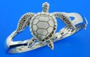 sterling silver sea turtle bangle bracelet