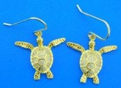 sea turtle earrings sterling silver gold plated