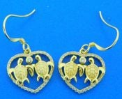 sterling silver sea turtle earrings 14k gold plate
