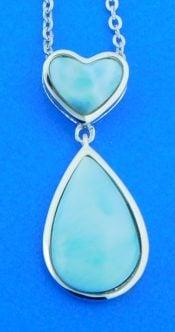 sterling silver heart teardrop larimar pendant