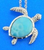 sterling silver larimar sea turtle pendant
