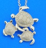 sterling silver family of sea turtles pendant