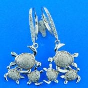 sterling silver sea turtle dangling earrings