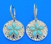 sterling silver sand dollar larimar dangle earrings