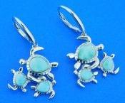 sterling silver & larimar family of sea turtle earrings